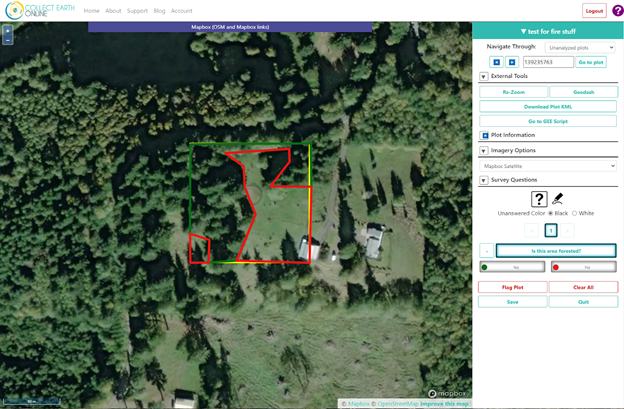 In this example, a user drew a polygon around the forested and unforested portions of a plot, allowing precise data collection.