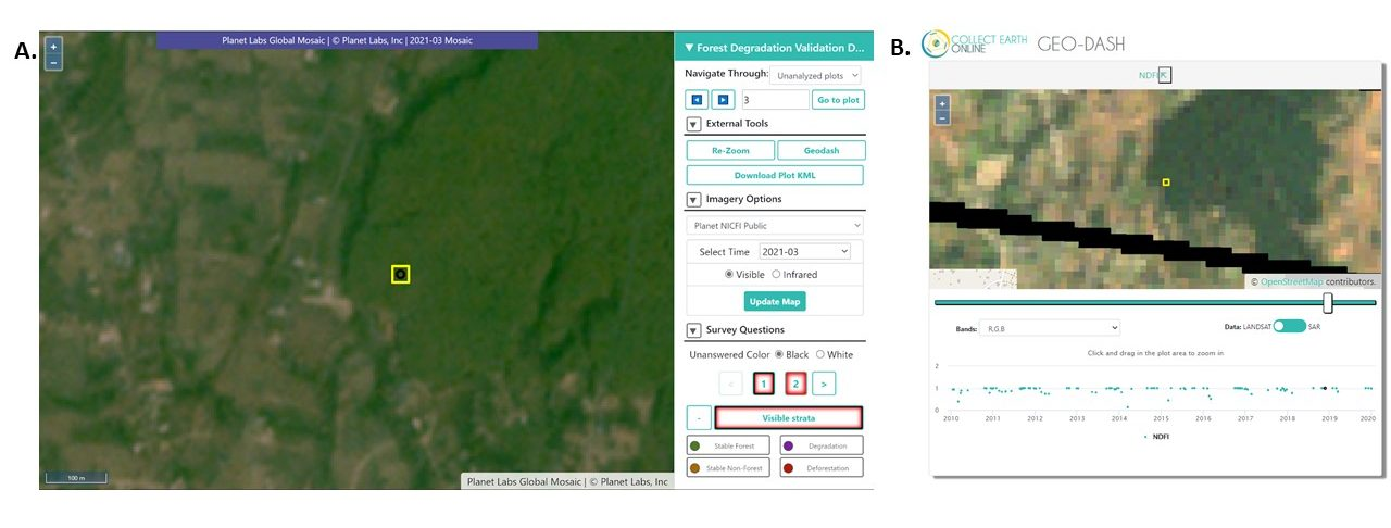 High-resolution date-stamped imagery available from Planet through the NICFI initiative (A) helps users to confirm patterns of forest degradation seen using the Geo-Dash tool (B), which uses medium-resolution Landsat and Sentinel imagery. These images are from work in progress in Nepal.