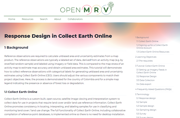 CEO is featured in multiple training modules in OpenMRV, including collecting reference data in CEO.