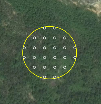 One of the plots (yellow) with samples (white) that local land use cover experts examined in CEO.